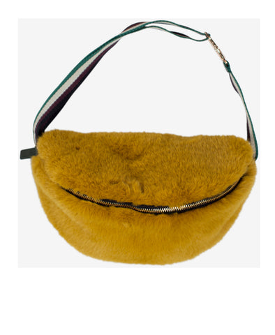 Kivi Mustard Yellow Faux Fur Belt Bag
