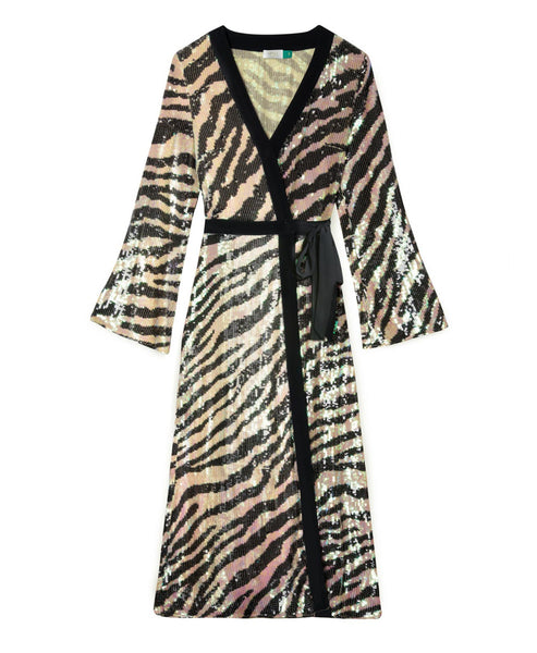 Rixo London - Gigi Tiger Sequin Midi Wrap Dress - Studio B Fashion - New Romance in Rebellion Rixo Tiger Stripe Sequin Gigi Midi Wrap Dress with long sleeves - Tiger Stripe Sequin Rixo