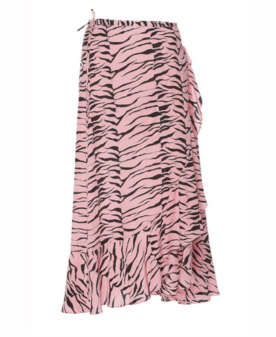 Gracie Pink Tiger Midi Wrap Skirt
