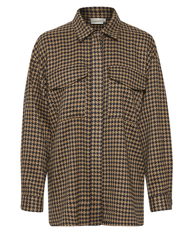 Gestuz Brown Houndtooth BellisGZ Long Sleeved Shirt