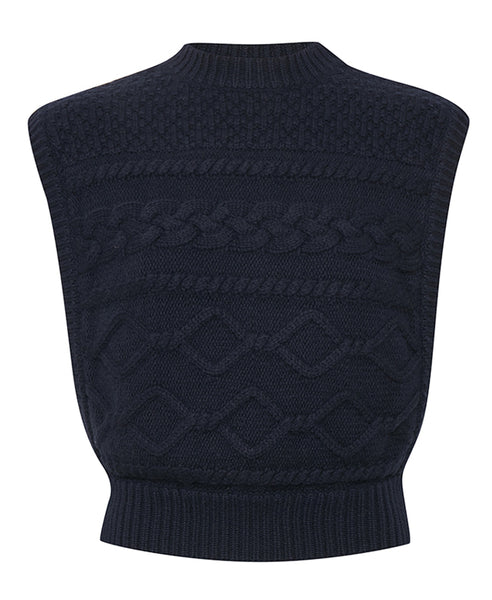 Gestuz. Navy LupiaGZ Knitted Pullover Waistcoat. Studio B Fashion