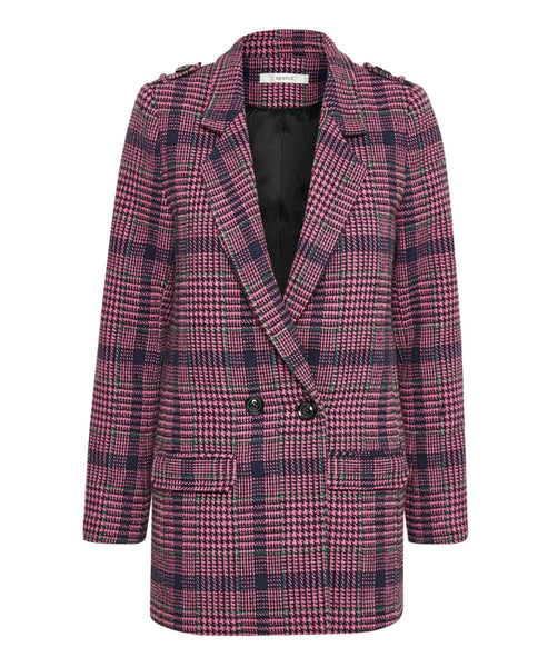 Gestuz - Ginea Pink Check Wool Blazer - Studio B Fashion - Pink purple check tweed Gestuz Ginea Blazer - New Gestuz SS19 Blazer