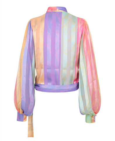 Glenda Wrap Top Altitude Stripes