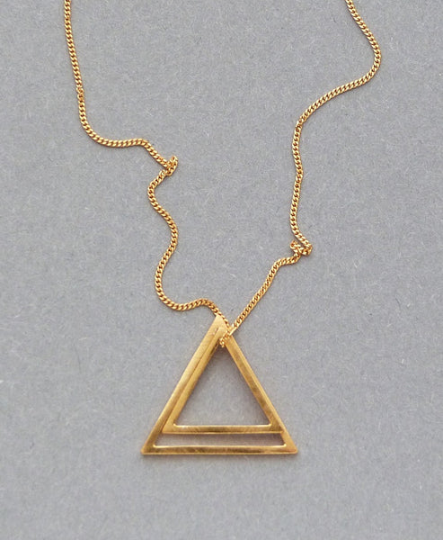 Elin Horgan - Handcrafted Modern Minimal Jewellery - Studio B Fashion - DOUBLE TRIANGLE GOLD NECKLACE