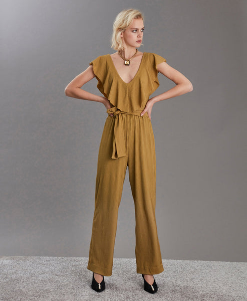 Gestuz - Bone Brown JustaGZ Jumpsuit Metallic - Studio B Fashion