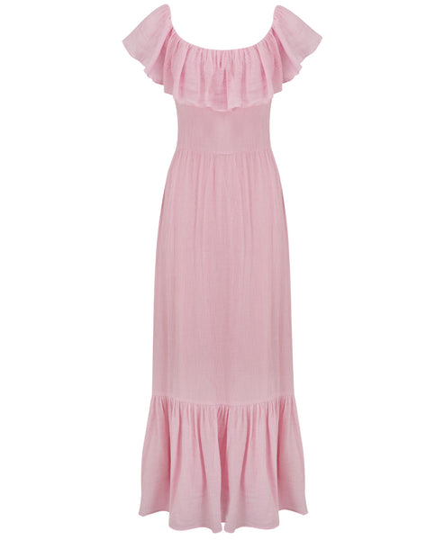 Gracie Frill Maxi Dress Blush Pink