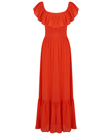 Gracie Frill Maxi Dress Red
