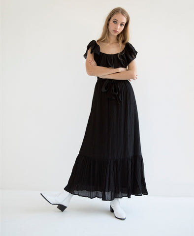 Gracie Frill Maxi Dress Black