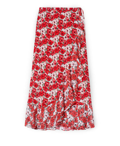 Gracie Red Diana Floral Midi Wrap Skirt