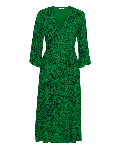 Loui Green Leopard Print Wrap Dress
