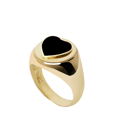 Wilhelmina Garcia Gold Black Heart Ring
