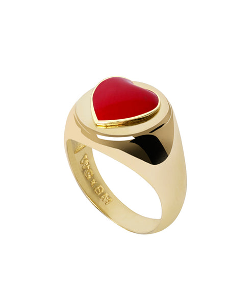 Wilhelmina Garcia. Gold Red Heart Ring. Studio B Fashion