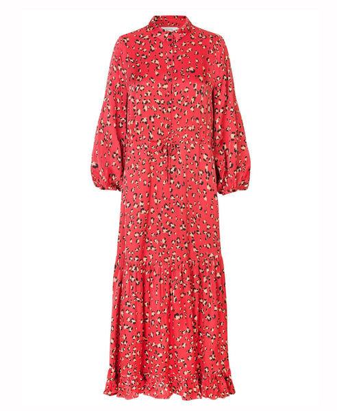 Munthe - Haylin Pink Red Leopard Spot Midi Dress - Studio B Fashion