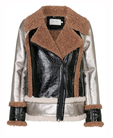 Munthe Hit Shearling Panel Biker Jacket