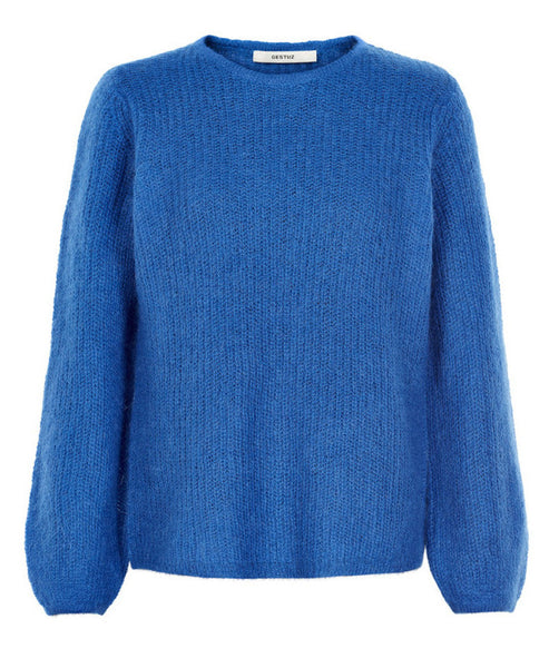 Gestuz - Holly Lapis Blue Balloon Sleeve Sweater - Studio B Fashion
