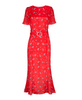 Joanne Red Ditsy Thorn Midi Dress