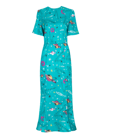 Joanne Space Age Pluto Print Midi Dress
