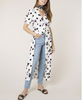 Rixo London - Jackson Bunched Daisy Polka Dot Dress - Studio B Fashion - on model worn over jeans