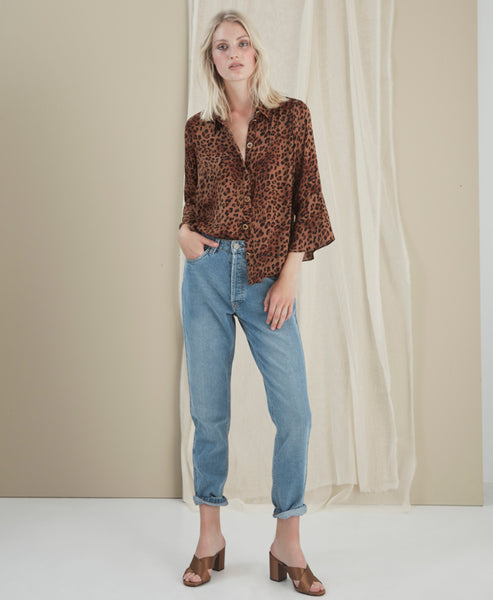 Gestuz - Jane Brown Leo Tiered Shirt - Studio B Fashion