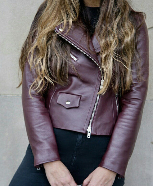 Hardy Leather Biker Jacket Wine