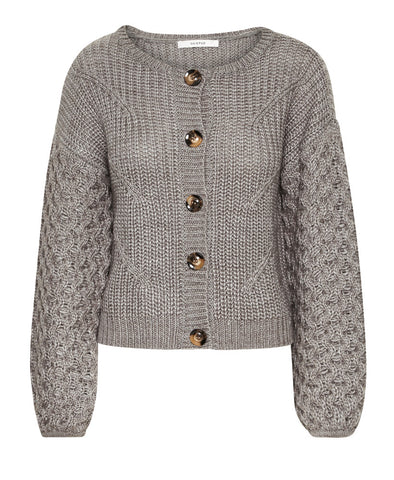 Juliett Grey Textured Knit Cardigan