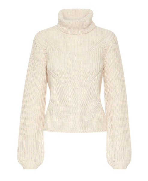Gestuz - Juliett Cream Ribbed Roll Neck Jumper - Studio B Fashion