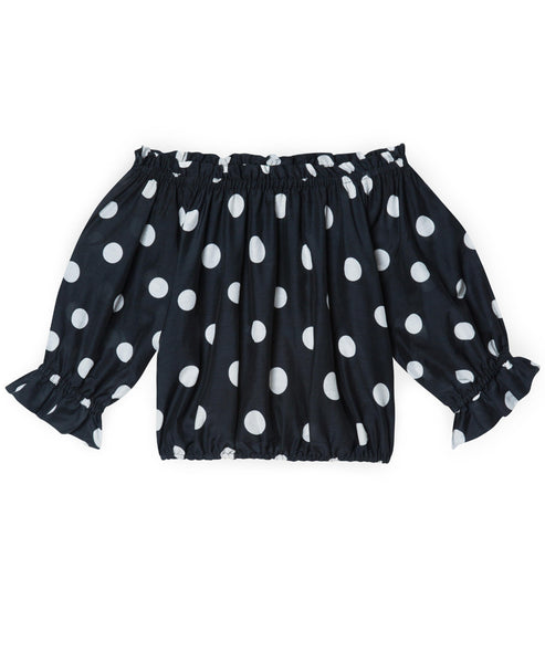 Kerry Polka Dot Off-The-Shoulder Crop Top