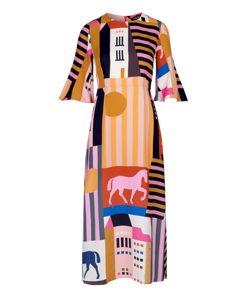 AW18 'Again Repeat' main collection Stine Goya Kirsten Dress - The City Print at Studio B Fashion.