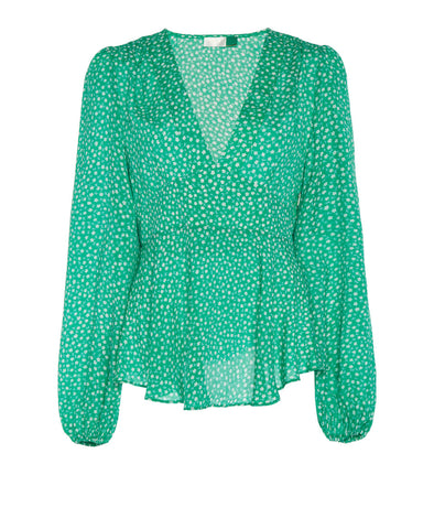Rixo Kikki Green Retro Floral Long Sleeve Blouse