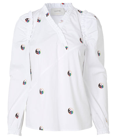 Munthe Ladybug Top White with Yin-Yang
