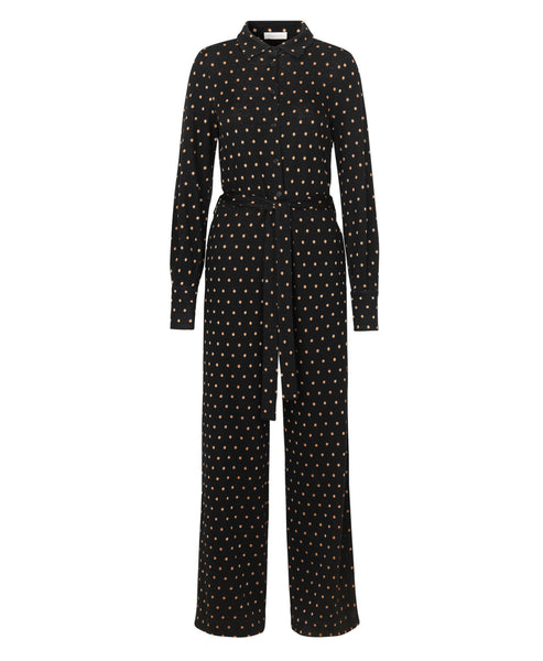 Stine Goya - Lana Knit Jumpsuit Black Gold Dots - Studio B Fashion - SS19 Pre Collection Nothingness Lana Gold Polka Dot Long Sleeve Wide Leg Jumpsuit
