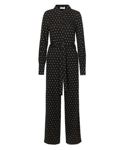 Lana Knit Jumpsuit Black Gold Dots