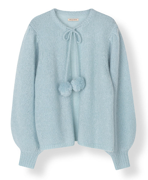 Stella Nova. Kiri Cardigan Water Blue with Pompoms. Studio B Fashion.