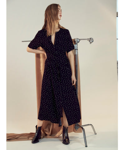 Harper Polka Dot Button Front Midi Dress