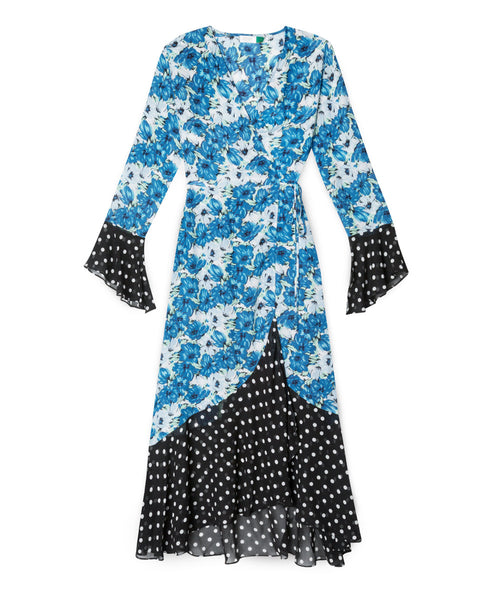 Rixo London - Luna Blue Diana Floral Mono Spot Dress -Studio B Fashion