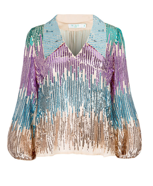 Lyla Multi Sequin Blouson Sleeve Top