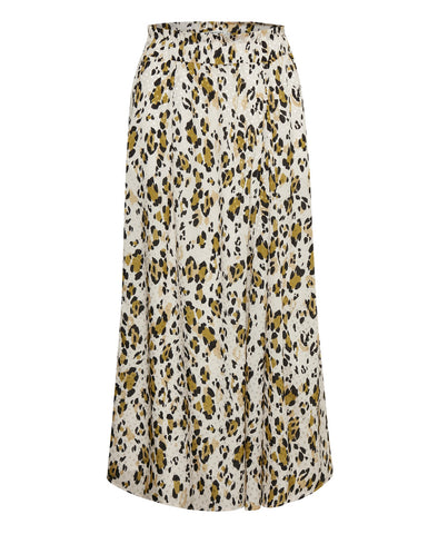 Leopa Golden Camel Leopard Print Long Skirt