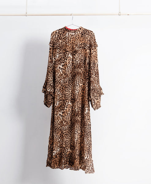 Leopard Ruffled Maxi Dress