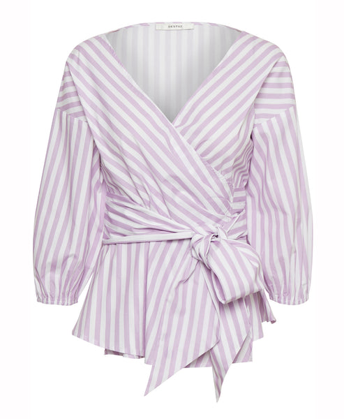 Gestuz - Wray Blouse Lilac Stripe Wrap Blouse - Studio B Fashion