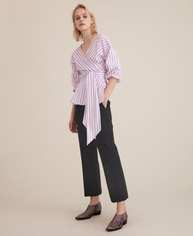 Wray Blouse Lilac Stripe Wrap
