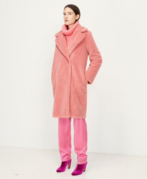 Stine Goya - Concord Faux Fur Coat Rosette Pink - Studio B Fashion - Pink long faux fur coat