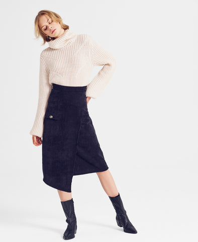 Juliett Cream Ribbed Knit Roll Neck