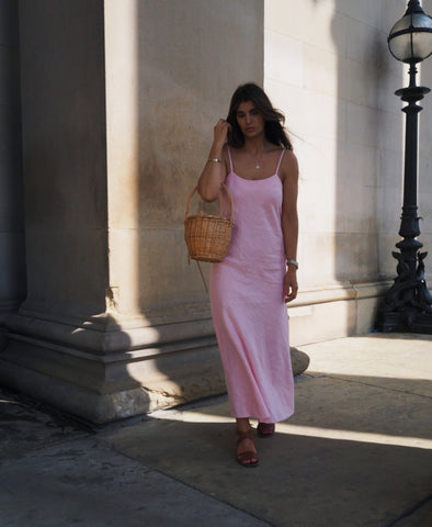 Luna Pink Linen Slip Dress
