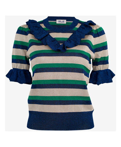 Lurex Stripe Short Sleeve Frill Top