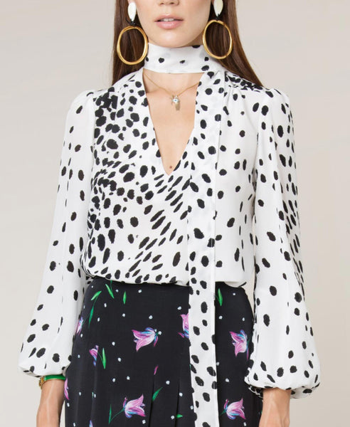 Rixo London - Moss White Leopard Necktie Blouse - Studio B Fashion