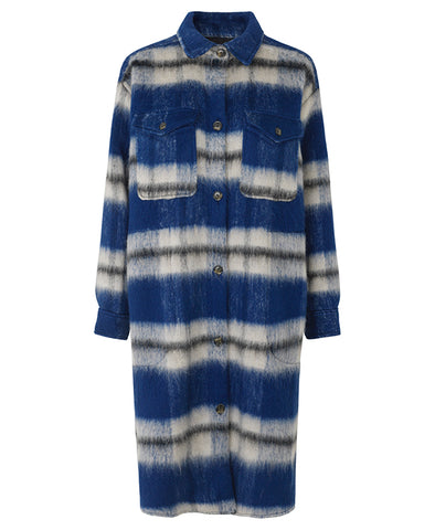 Munthe Satara Long Coat Indigo Check
