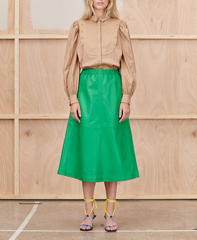 Munthe Tatu Skirt Green Leather