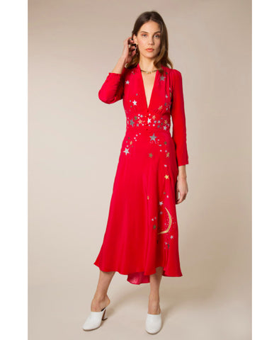 Margo Red Star Embellished Midi Dress