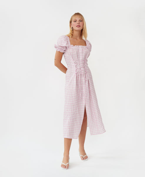 Sleeper. Marquise Linen Dress in Pink Gingham. Studio B Fashion