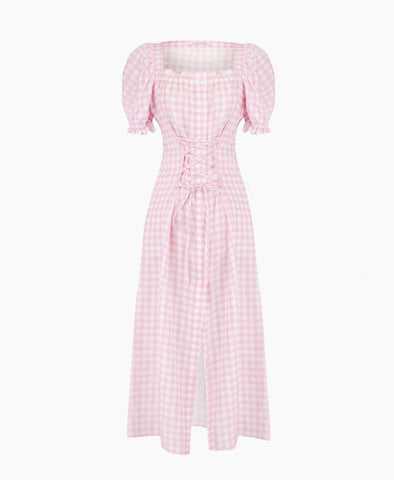 Sleeper Marquise Linen Dress in Pink Gingham